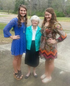 Rebecca Hurst with her grandma and sister